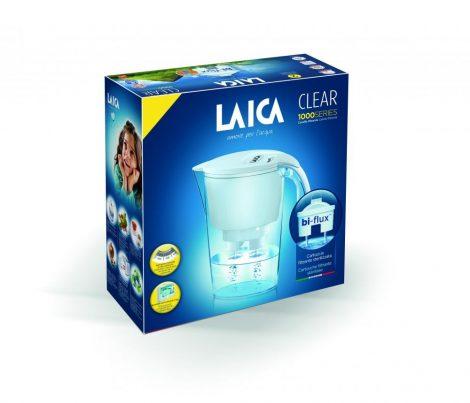 LAICA Clear Line fehér vízszűrő kancsó mechanikus kijelzővel és 1 db bi-flux univerzális szűrőbetéttel