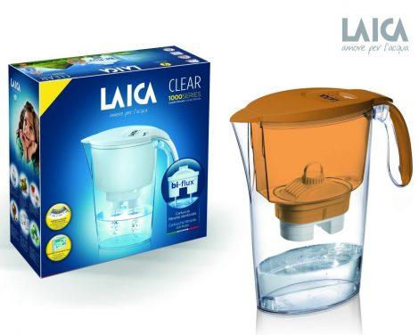 LAICA Clear Line narancssárga vízszűrő kancsó mechanikus kijelzővel és 1 db bi-flux univerzális szűrőbetéttel
