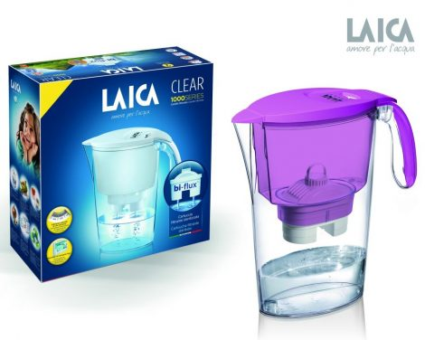 LAICA Clear Line lila vízszűrő kancsó mechanikus kijelzővel és 1 db bi-flux univerzális szűrőbetéttel
