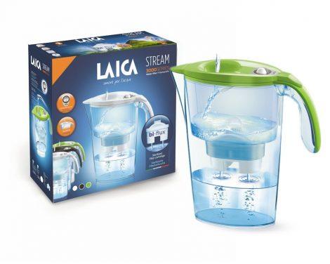 LAICA Stream Line  zöld vízszűrő kancsó mechanikus kijelzővel és 1 db bi-flux univerzális szűrőbetéttel, -  2,3 literes