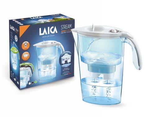 LAICA Stream Line fehér vízszűrő kancsó mechanikus kijelzővel és 1 db bi-flux univerzális szűrőbetéttel -  2,3 literes