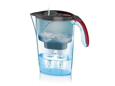 LAICA Stream Line  Graffiti Light fekete-piros vízszűrő kancsó digitális kijelzővel és 1 db bi-flux univerzális szűrőbetéttel, -  2,3 literes