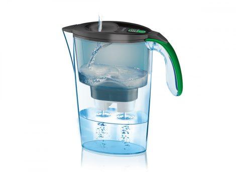 LAICA Stream Line  Graffiti Light fekete-zöld vízszűrő kancsó digitális kijelzővel és 1 db bi-flux univerzális szűrőbetéttel, -  2,3 literes