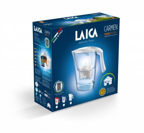 LAICA Carmen High-tech kék vízszűrő kancsó elektronikus kijelzővel és 1 db bi-flux univerzális szűrőbetéttel