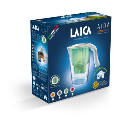 LAICA Carmen Aida zöld vízszűrő kancsó  mechanikus kijelzővel és 1 db bi-flux univerzális szűrőbetéttel