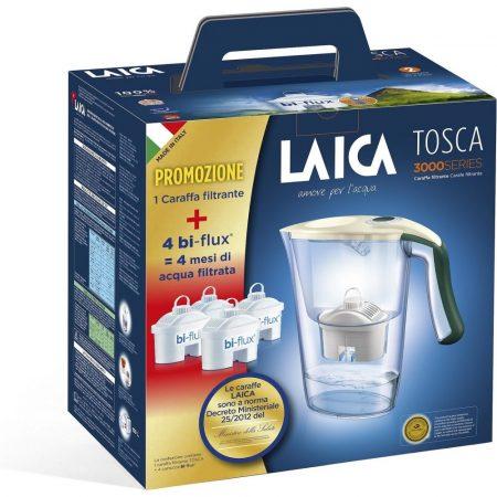 LAICA Tosca sötétzöld vízszűrő kancsó szett mechanikus kijelzővel és 1 + 3 db bi-flux univerzális szűrőbetéttel