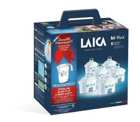 LAICA 6 db-os bi-flux univerzális szűrőbetét Laica Stream Line digitális vízszűrő kancsóval, ajándékszett