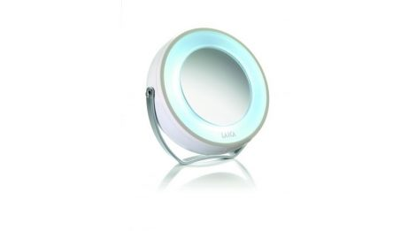 Laica Kompakt kozmetikai tükör 5X-ös nagyítással, LED-megvilágítással.