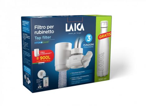 LAICA HYDROSMART rendszerű csapra szerelhető mikroplasztik-stop vízszűrő + ajándék LAICA fém palack 0,5 liter