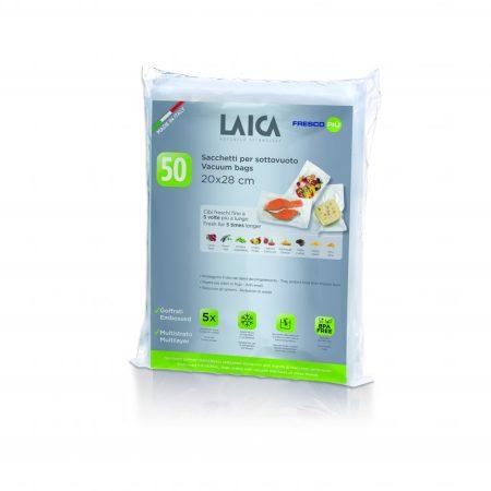 Laica vákuum légcsatornás,BPA mentes csomagoló tasak 20x28cm, 50db volumen csomag.