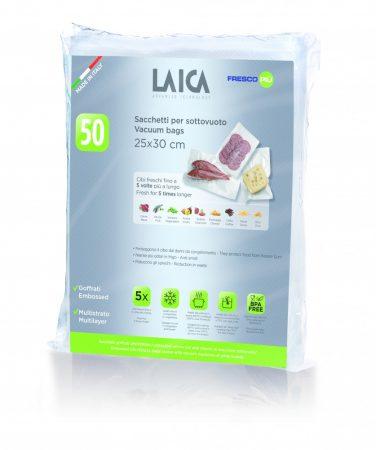 LAICA  légcsatornás EXTRA erős, BPA mentes vákuum csomagoló tasak 25 x 30 cm, 50 db